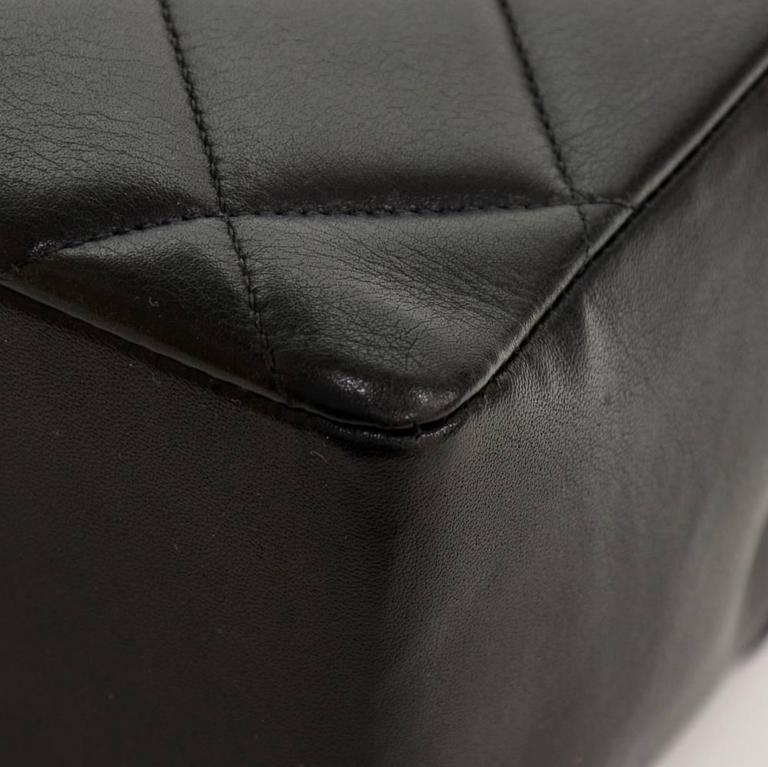 "Vintage Chanel 13"" Maxi Jumbo Black Quilted Leather Shoulder Flap Bag For Sale 4"