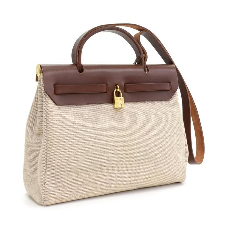 8cc8c45be9e ... france hermes herbag pm size 2 in 1. two canvas bags with leather.  leather