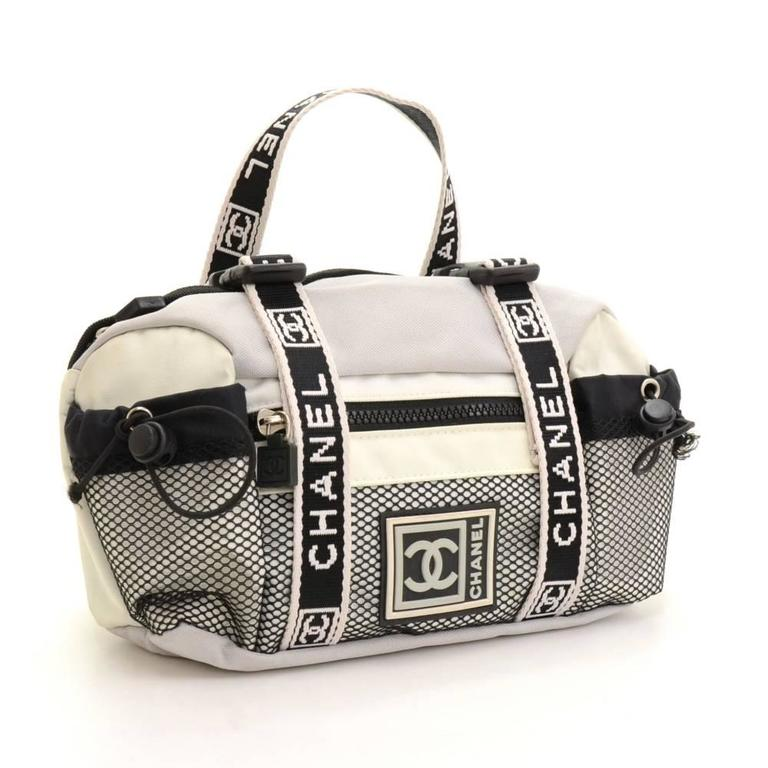 Chanel Sports Line Gray X White Canvas Waist Pouch Bag At