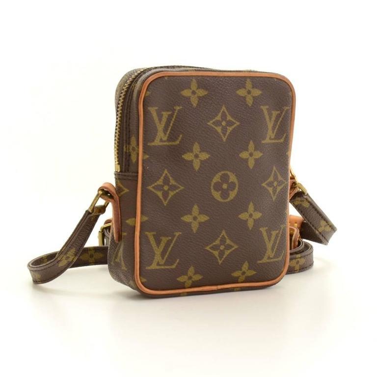 Brown Vintage Louis Vuitton Mini Danube Monogram Canvas Shoulder Pochette Bag For Sale