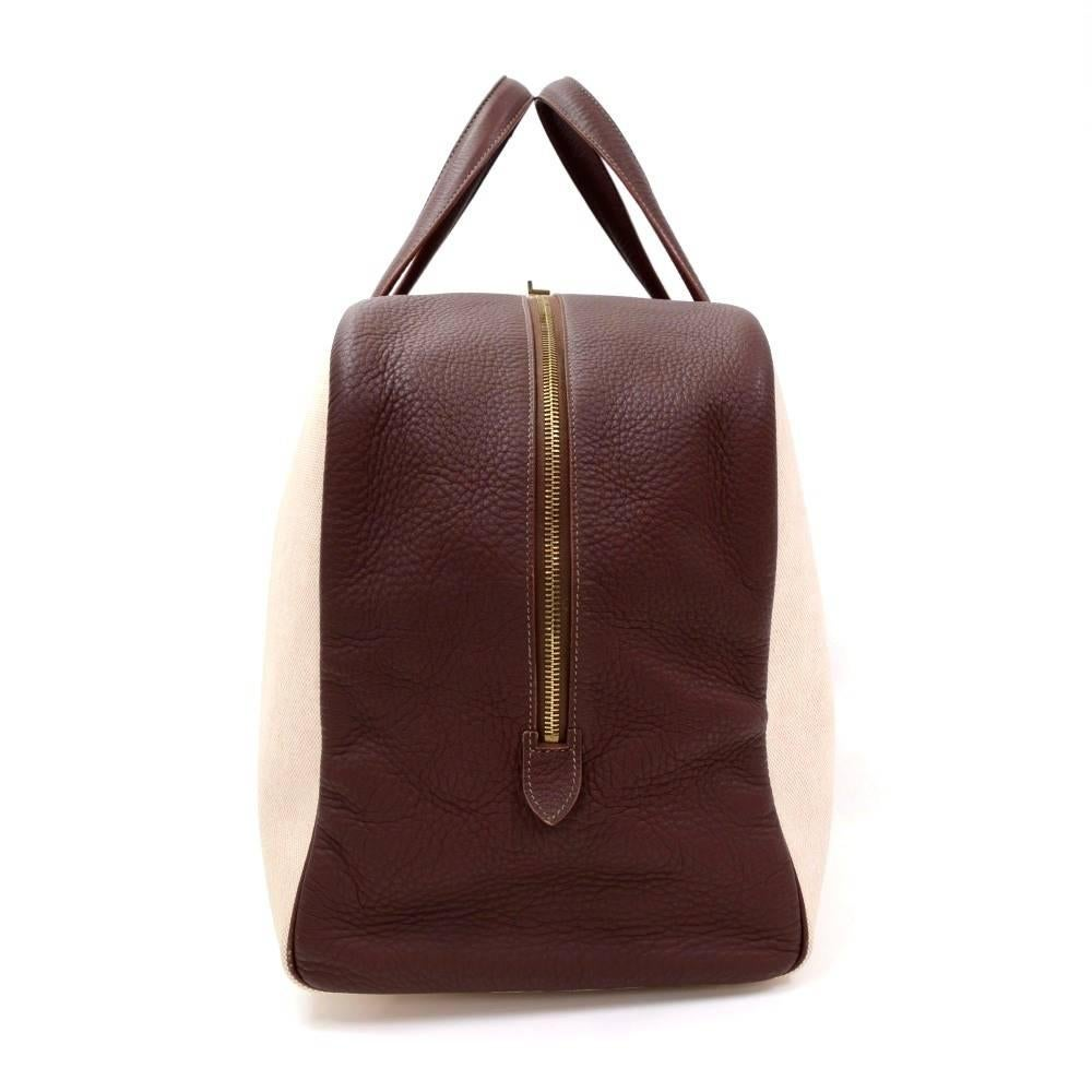 d3c88f13ef38 ... closeout hermes victoria 50 beige canvas x brown leather large boston  bag at 1stdibs 3880e c23a5