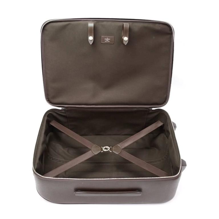 Louis Vuitton Pegase 60 Brown Taiga Leather Travel Rolling Luggage For Sale 4