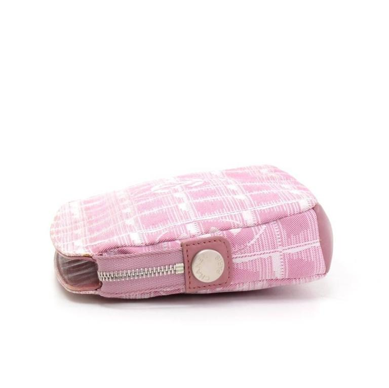 Women's Chanel Pink Jacquard Nylon Travel Line Pouch Hand Bag For Sale