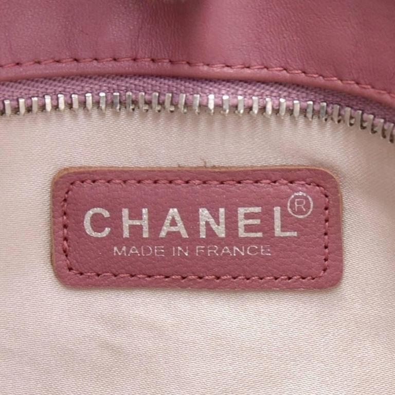 Chanel Pink Jacquard Nylon Travel Line Pouch Hand Bag For Sale 6