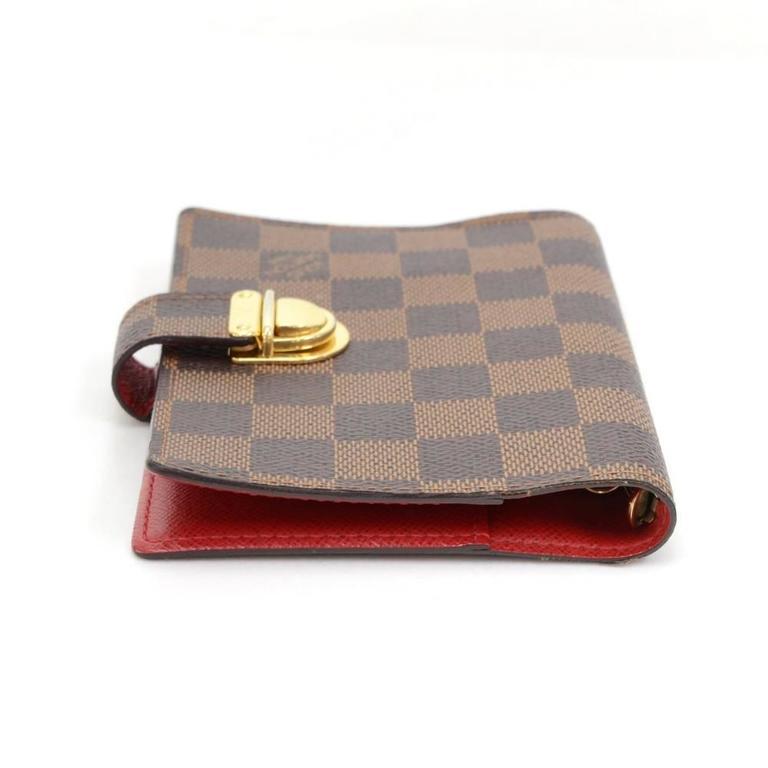 Brown Louis Vuitton Agenda Fonctionnel PM Ebene Damier Canvas Agenda Cover For Sale