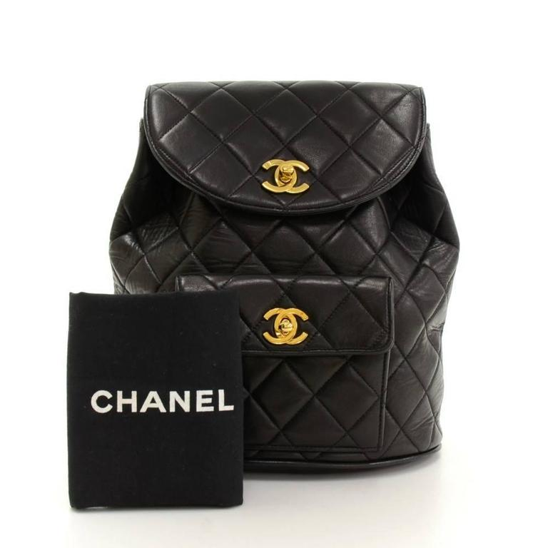 Chanel Black Quilted Lambskin Leather Medium Backpack Bag 2