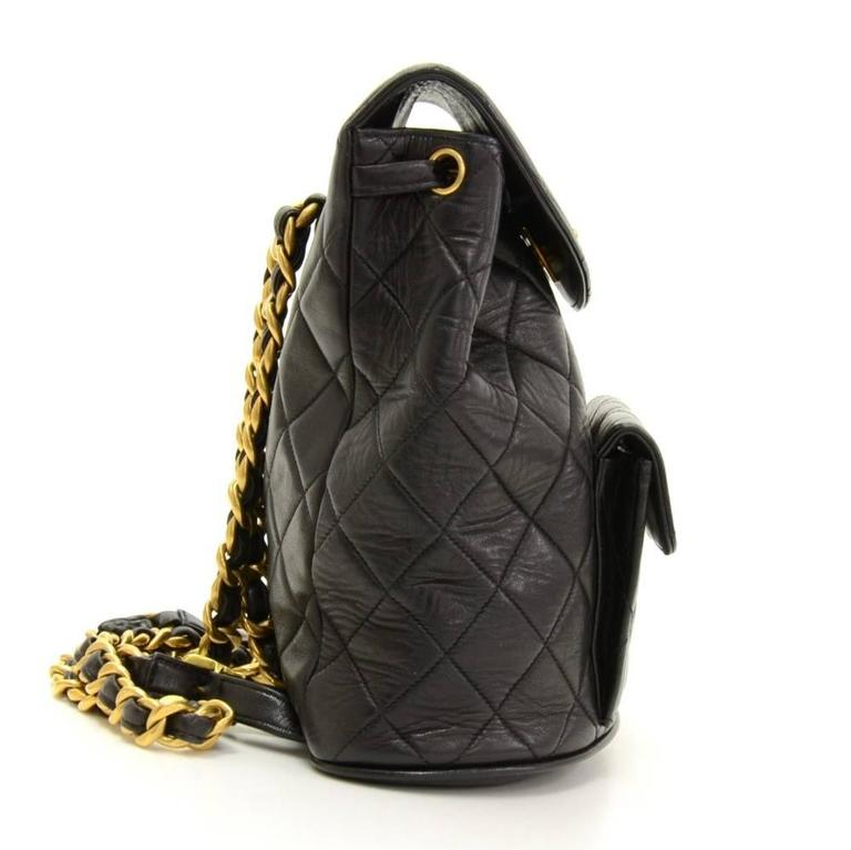 Chanel Black Quilted Lambskin Leather Medium Backpack Bag 5