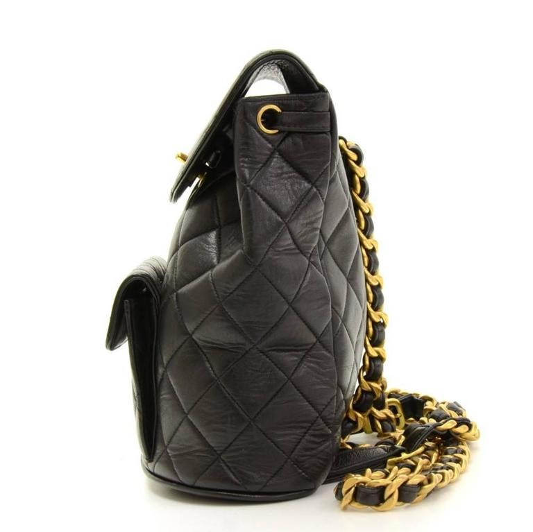 Chanel Black Quilted Lambskin Leather Medium Backpack Bag 4