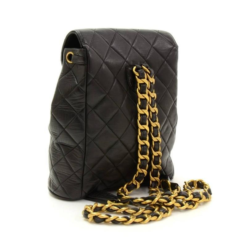 Chanel Black Quilted Lambskin Leather Medium Backpack Bag 3
