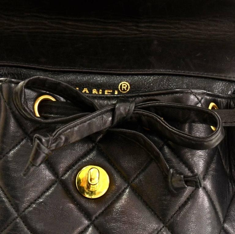 Chanel Black Quilted Lambskin Leather Medium Backpack Bag 7