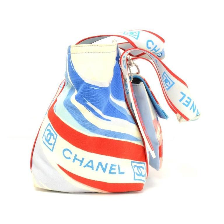 Chanel Blue X Multicolor Canvas Camellia Small Beach Tote