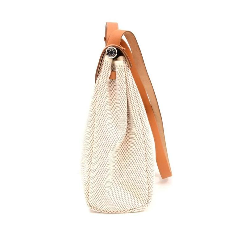 Hermes Herbag MM 2 in 1 Beige Canvas Brown Leather Shoulder Bag 5