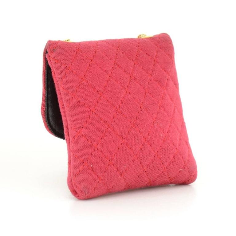Chanel Rose Pink Quilted Cotton Mini Coin Case on Chain 2
