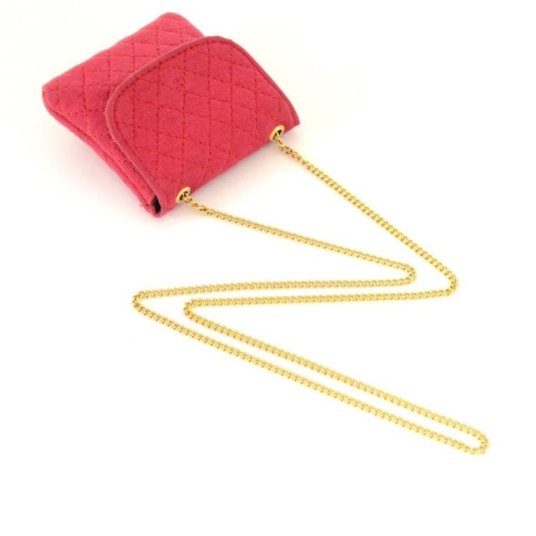 Chanel Rose Pink Quilted Cotton Mini Coin Case on Chain 8