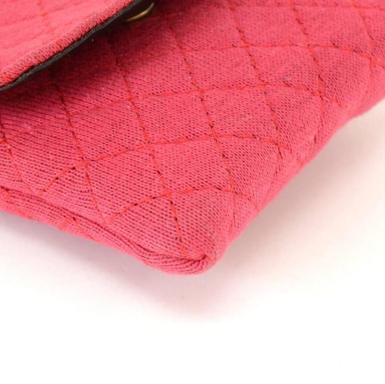 Chanel Rose Pink Quilted Cotton Mini Coin Case on Chain 7