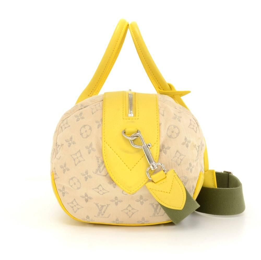 Louis Vuitton Denim Speedy Round Pm Yellow Leather 2way Bag - 2012 Limited H9WTeTJq8