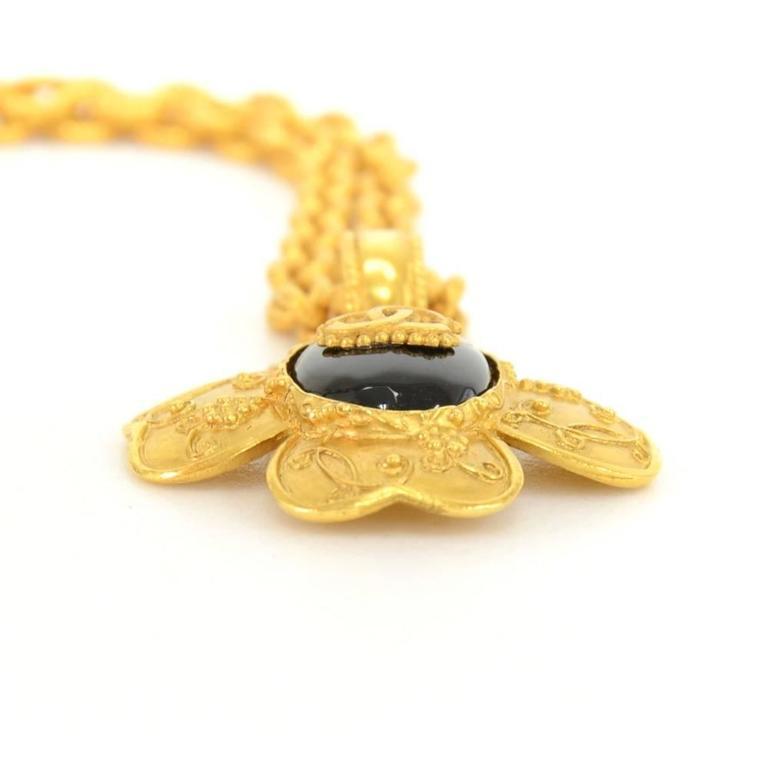 Chanel CC Gold Tone Flower Motif Pendant Necklace For Sale 3