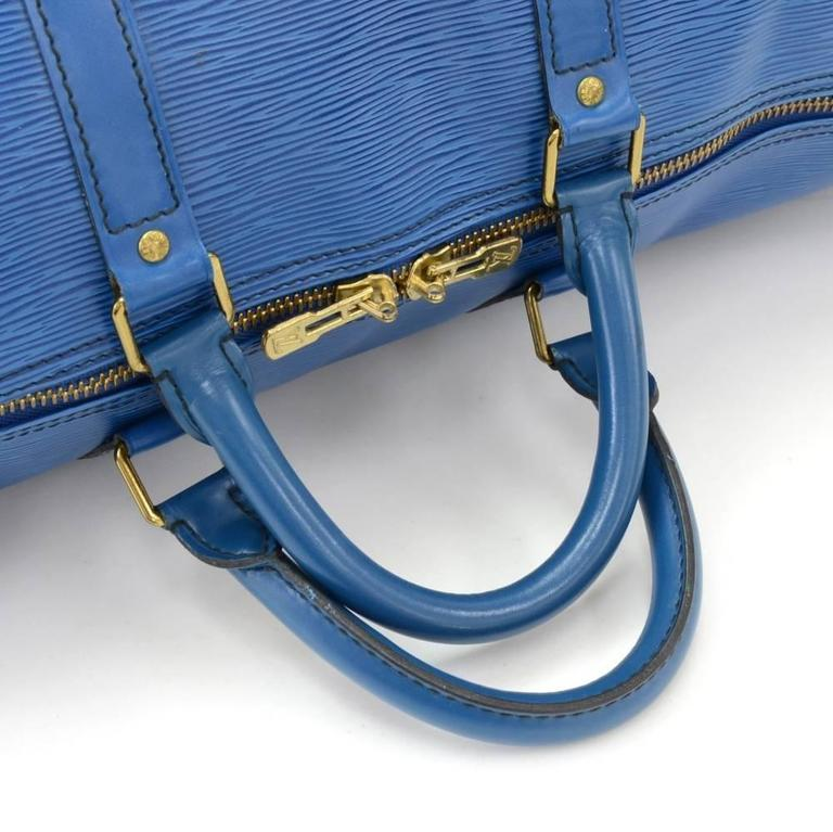 vintage louis vuitton keepall 50 blue epi leather duffle travel bag for sale at 1stdibs