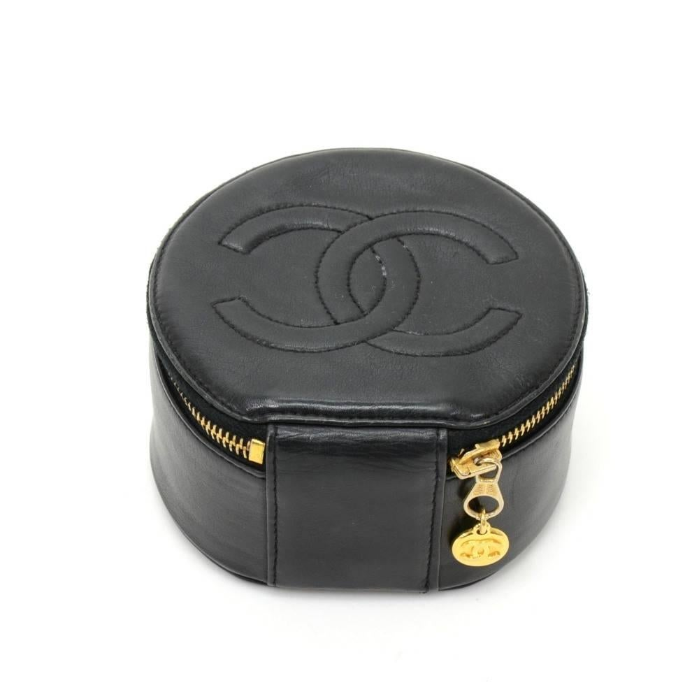 Vintage Chanel Black Leather Jewelry Case Pouch at 1stdibs