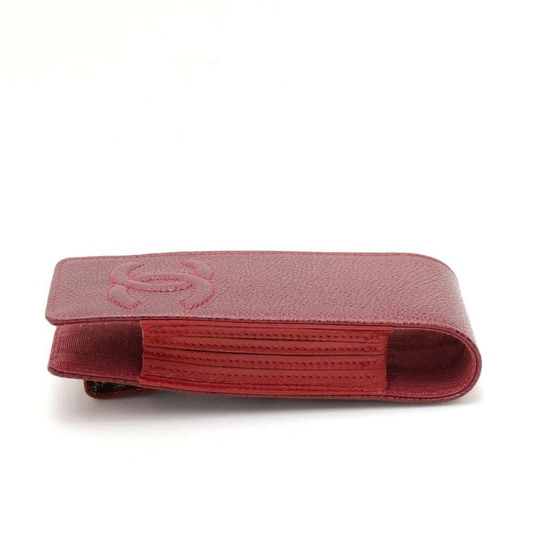 Chanel Burgundy Caviar Leather Phone/Cigarette Case For Sale 1