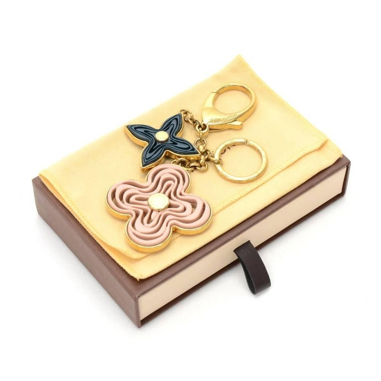 Louis Vuitton Gold Tone Navy and Pink Monogram Naif Key Chain / Holder 2