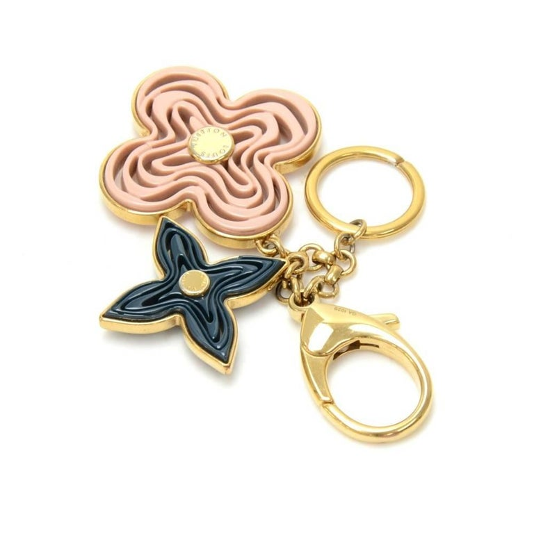 Louis Vuitton Gold Tone Navy and Pink Monogram Naif Key Chain / Holder 3