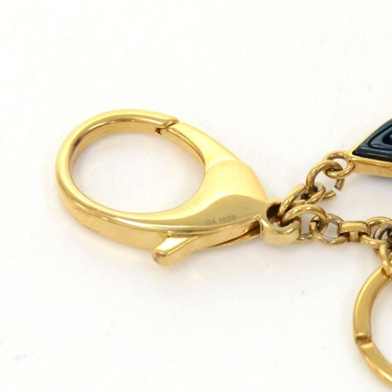 Louis Vuitton Gold Tone Navy and Pink Monogram Naif Key Chain / Holder 5