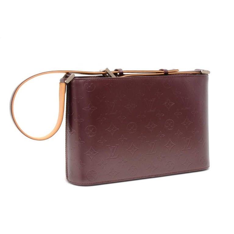 Brown Louis Vuitton Allston Purple Monogram Mat Leather Shoulder Bag  For Sale