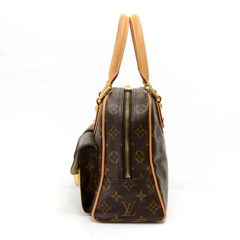 Black Louis Vuitton Manhattan PM Monogram Canvas Hand Bag For Sale