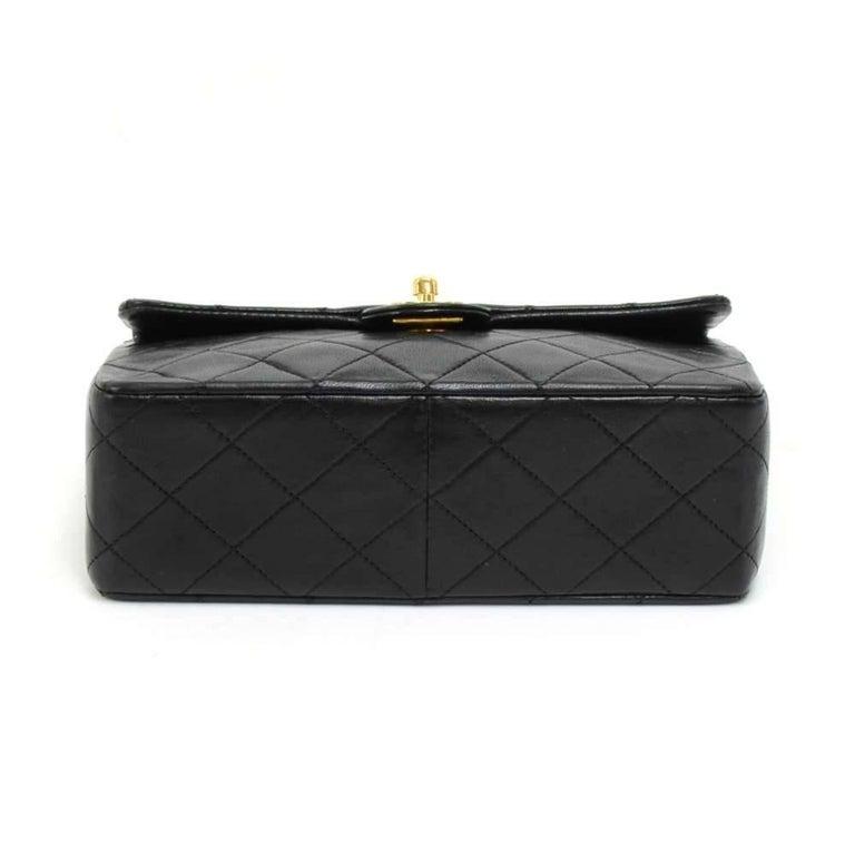 """Vintage Chanel 8"""" Flap Black Quilted Leather Mini Shoulder Bag For Sale 1"""