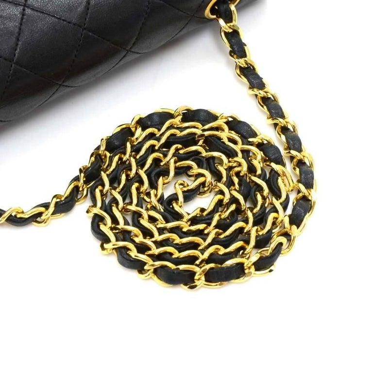 """Vintage Chanel 8"""" Flap Black Quilted Leather Mini Shoulder Bag For Sale 2"""