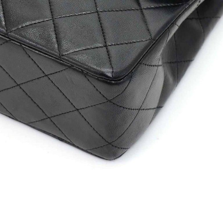 """Vintage Chanel 8"""" Flap Black Quilted Leather Mini Shoulder Bag For Sale 3"""