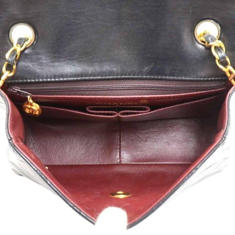 """Vintage Chanel 8"""" Flap Black Quilted Leather Mini Shoulder Bag For Sale 6"""