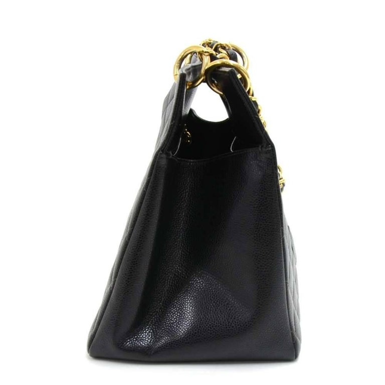Women's Chanel Vintage Black Quilted Caviar Leather Shopping Tote Bag  For Sale