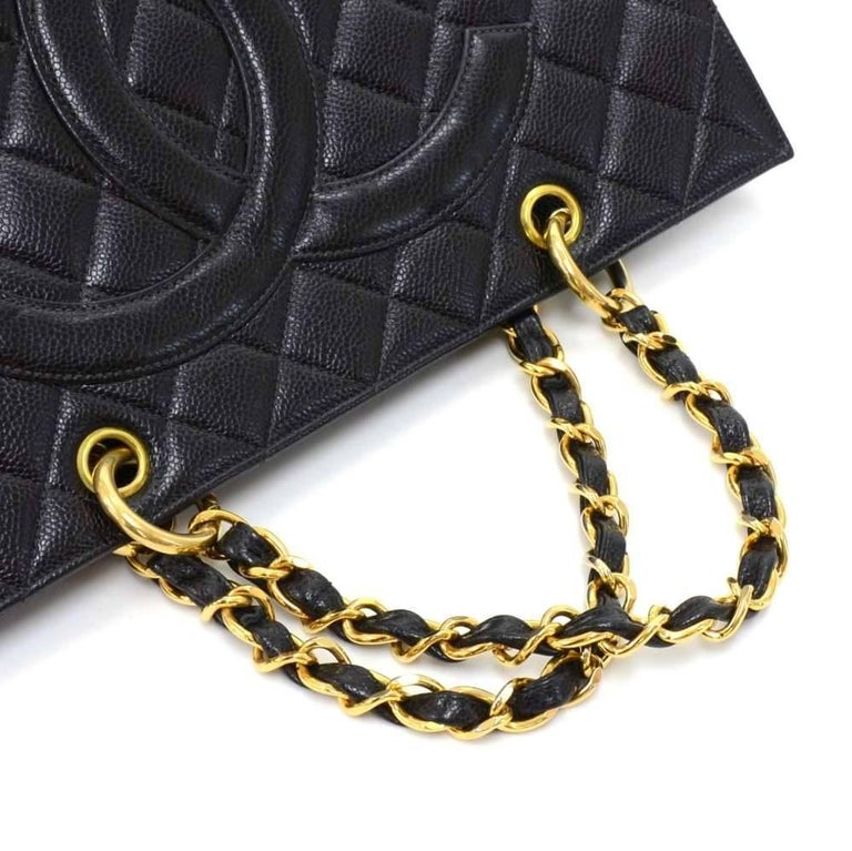 Chanel Vintage Black Quilted Caviar Leather Shopping Tote Bag  For Sale 2