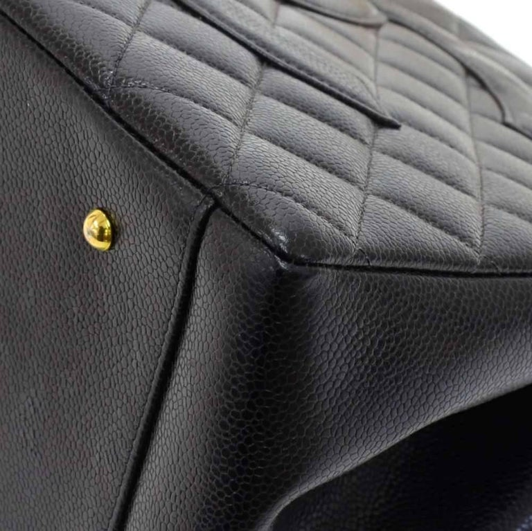 Chanel Vintage Black Quilted Caviar Leather Shopping Tote Bag  For Sale 3