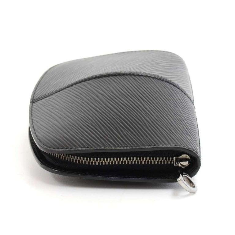 Women's Louis Vuitton Black Epi Leather Demi lune Wallet w/ coin case For Sale