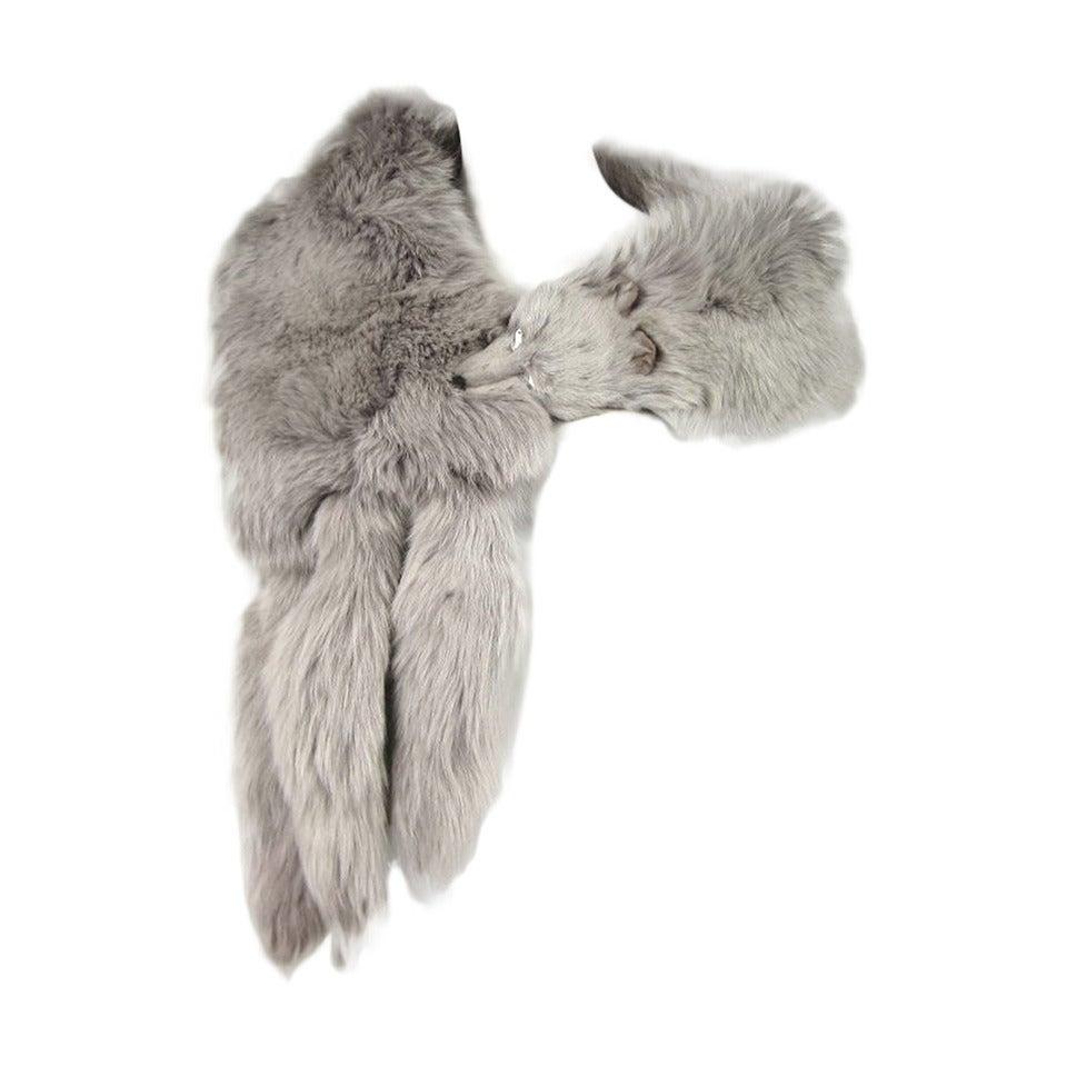Blue Fox Fur Collar Stole wrap For Sale