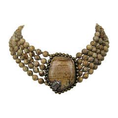 1990s Stephen DWECK Sterling OOAK 5 strand stone bib Necklace New, Never Worn