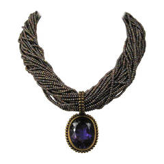 1990s Stephen DWECK Amethyst Sterling 32 strand stone bib Necklace New Never Wor