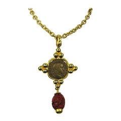 1990s Philippe Ferrandis Gold Cinnabar Drop Necklace New Never worn