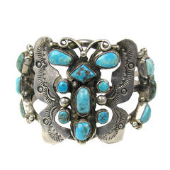 OLD Pawn Southwestern Navajo Turquoise Cuff Bracelet Butterfly