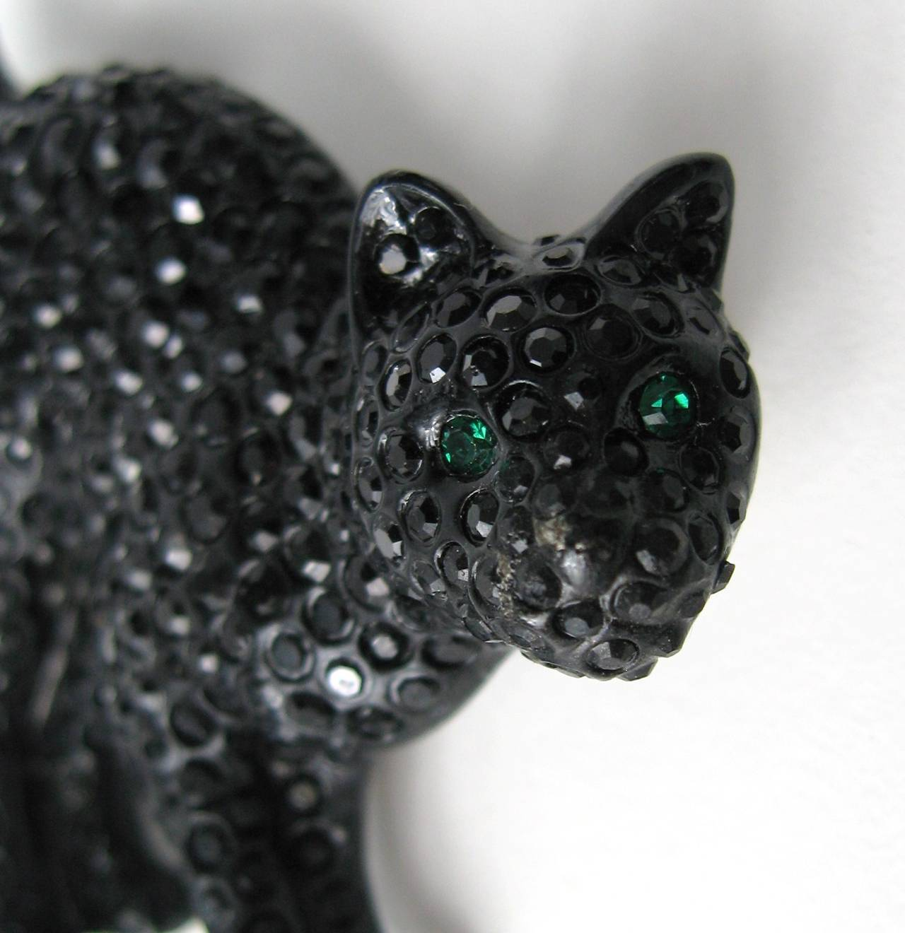 Swarovski Crystal Glitz Black Cat Brooch Pin New Never Worn  2