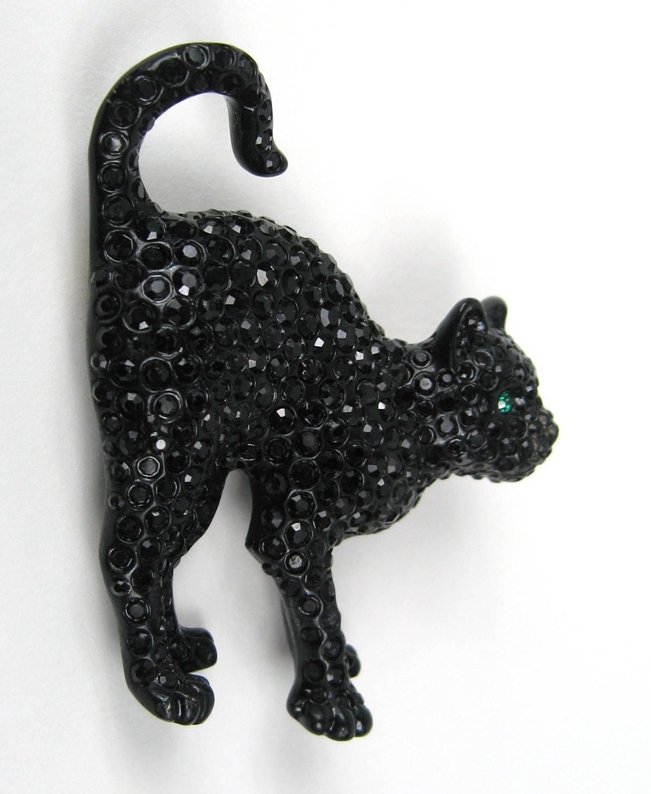 Swarovski Crystal Glitz Black Cat Brooch Pin New Never Worn  3