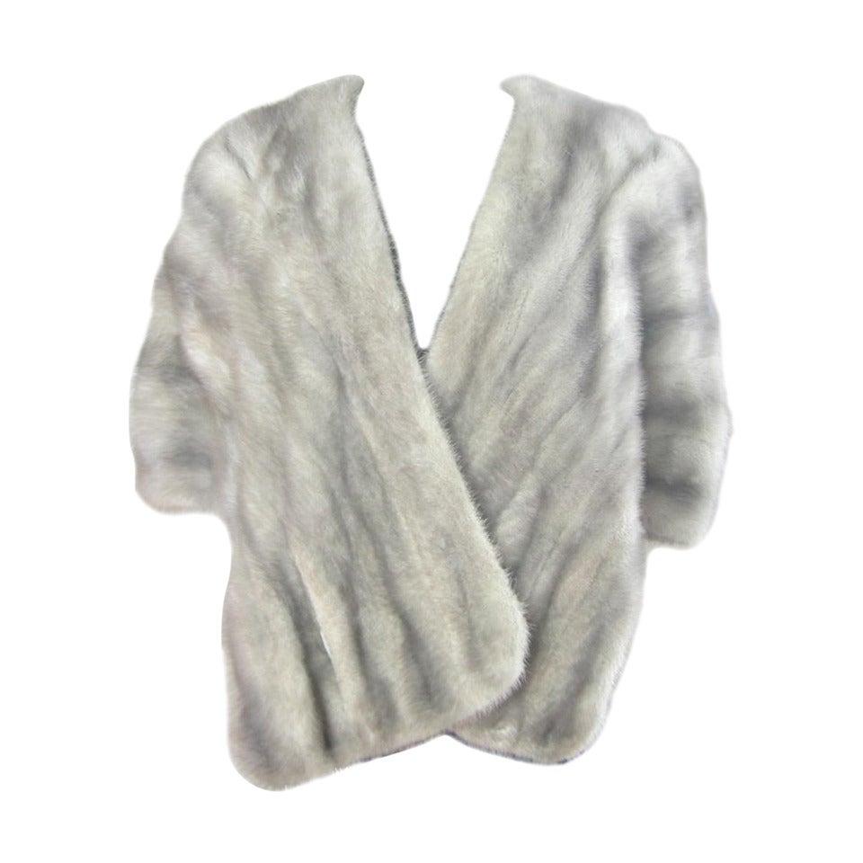 1960s Sapphire Mink Fur Stole Cape Jacket Fath 1