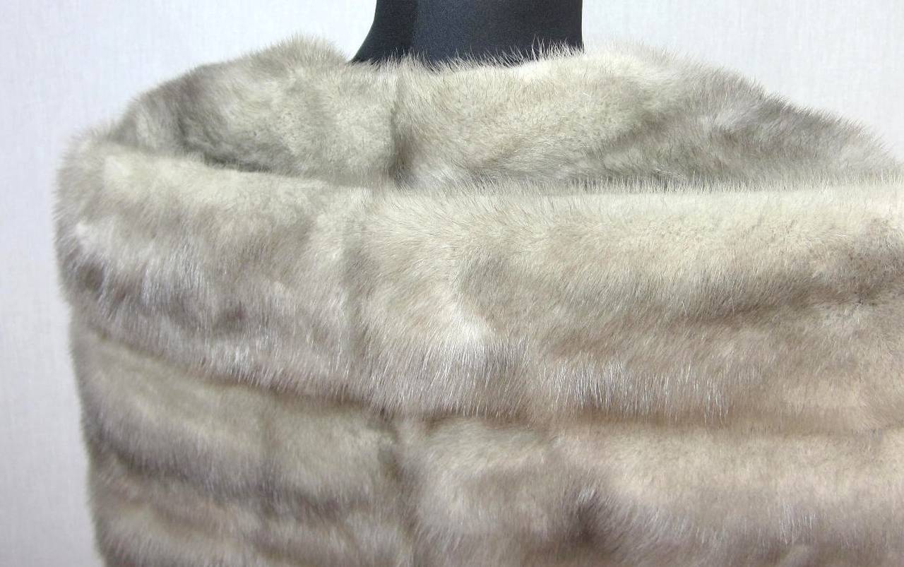 1960s Sapphire Mink Fur Stole Cape Jacket Fath 4