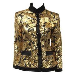 1990s Yves Saint Laurent Gold Black Silk Evening Jacket 36