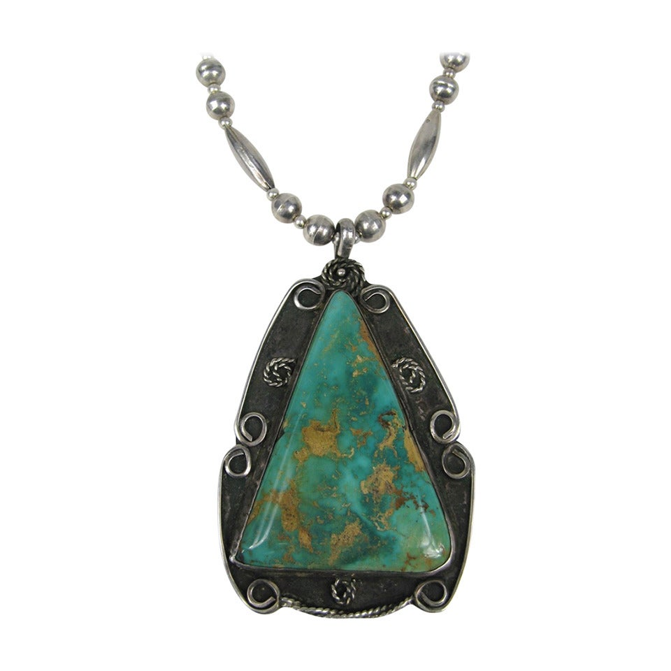 Navajo Sterling silver Old Pawn Hachita turquoise Drop ...