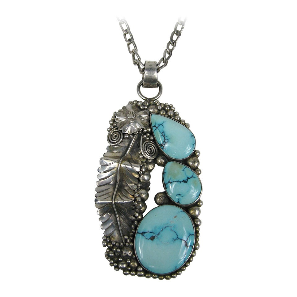 Native American Navajo Turquoise Sterling Necklace 1