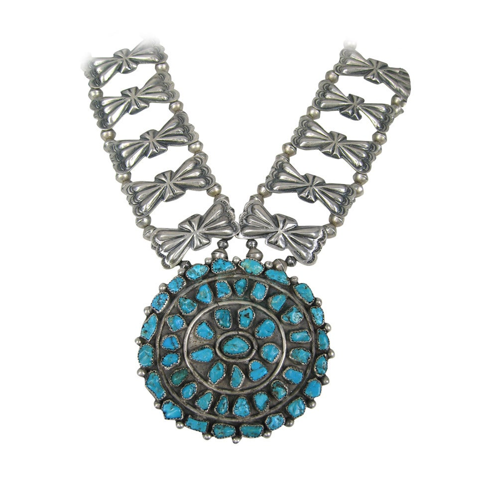 Sterling Pawn Butterfly link Squash Blossom Turquoise Necklace 1